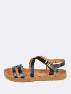 Faux Leather Instep Sandals BLACK