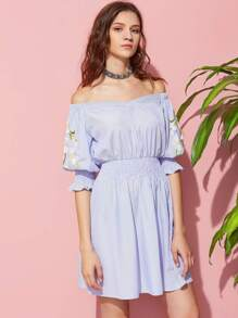 Daisy Embroidered Shirred Detail V Cut Bardot Dress