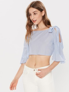 Bell Sleeve Bow Tie Open Shoulder Crop Top