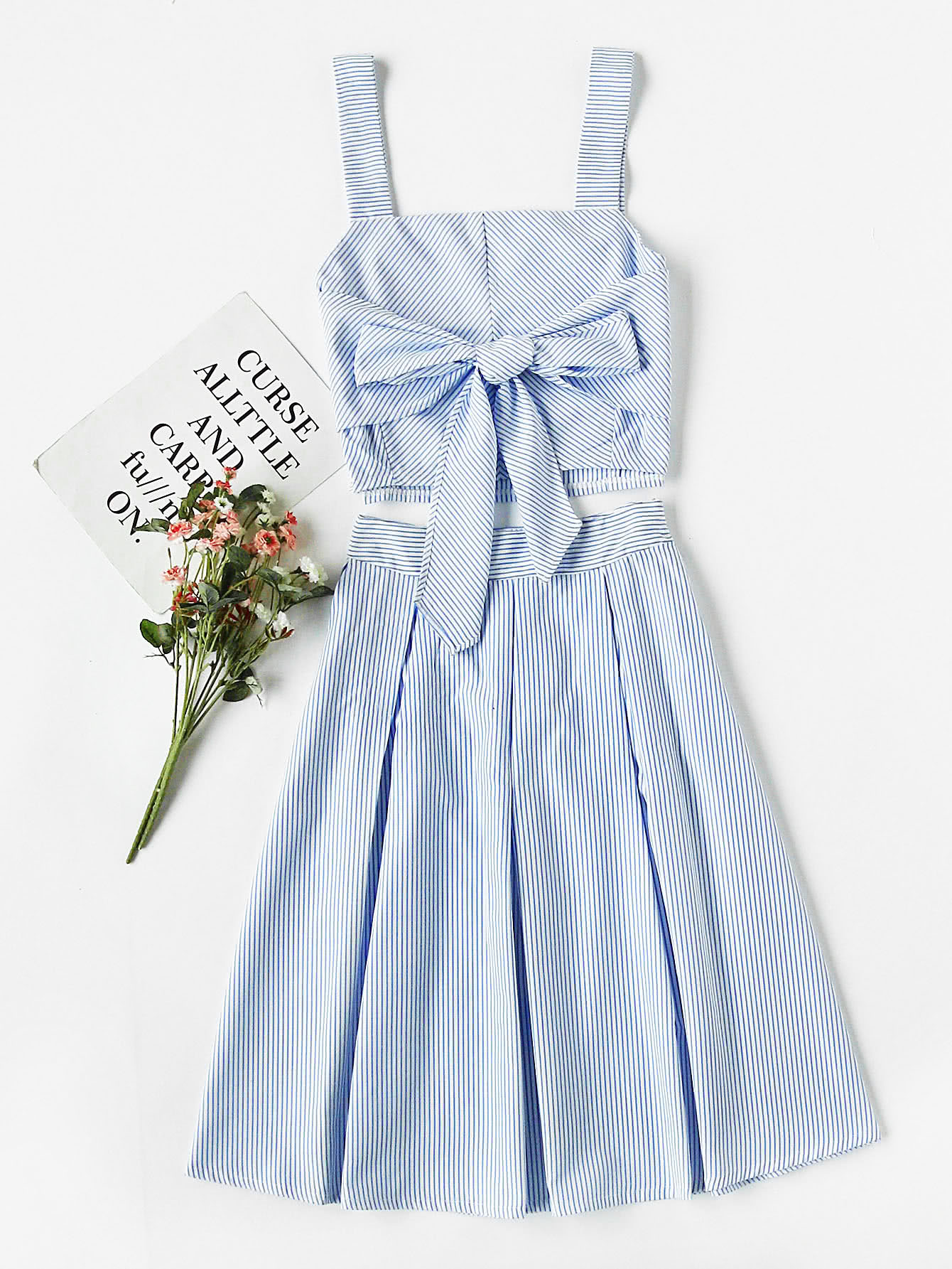 Striped Bow Tie Crop Cami Top With Box Pleated Skirt bow tie striped cami jumpsuit