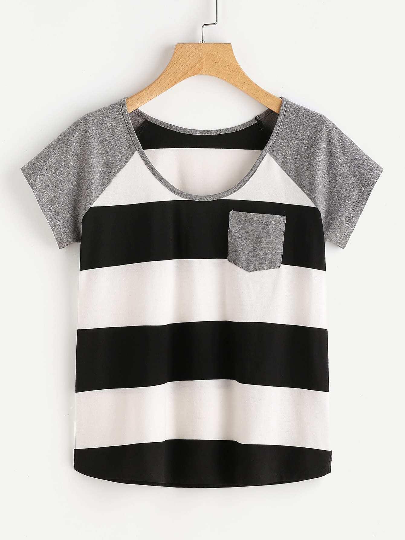 Фото Raglan Sleeve Wide Striped T-shirt. Купить с доставкой