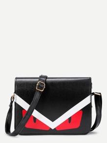 Graphic Print PU Shoulder Bag With Adjustable Strap