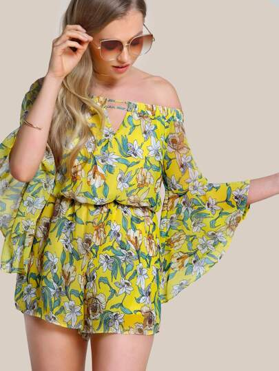 Floral Print Off Shoulder Trumpet Sleeve Romper YELLOW