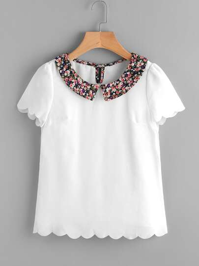 Contrast Calico Print Collar Scallop Trim Blouse