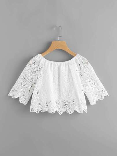 Boat Neckline Chevron Hem Lace Top