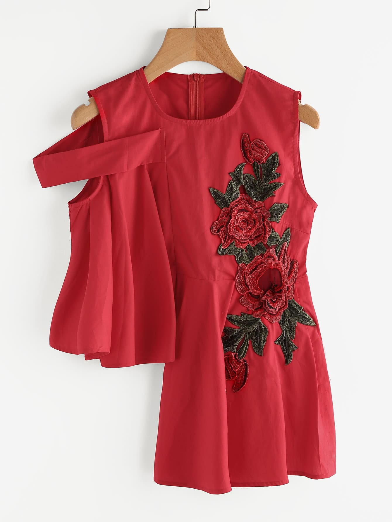 Фото Asymmetrical Hem Flower Embroidery Applique Top. Купить с доставкой