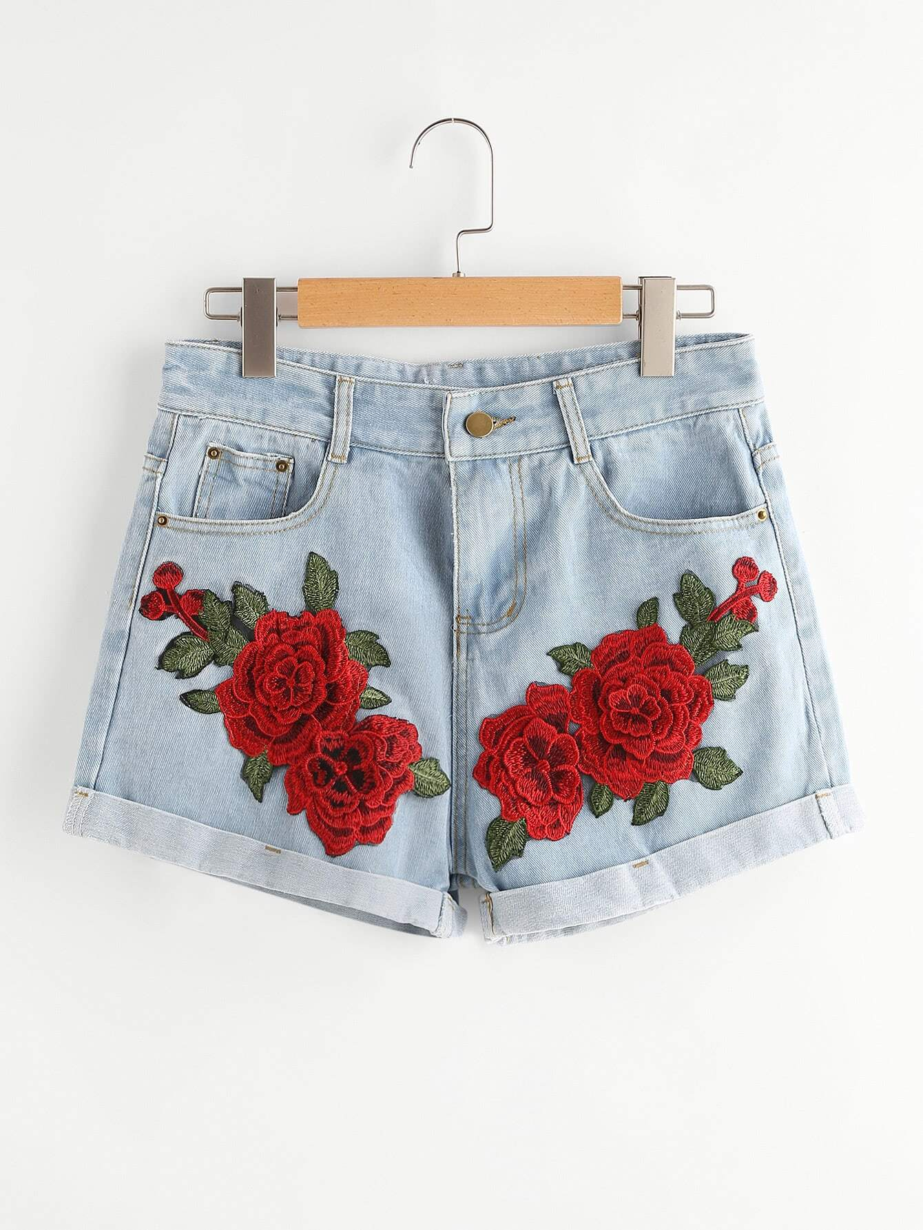 Rose Embroidered Applique Cuffed Denim Shorts thumbnail