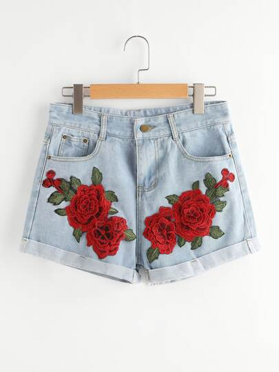 Rose Embroidered Applique Cuffed Denim Shorts