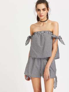 Self Tie Gingham Bardot Top And Shorts Set
