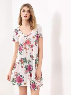 Flower Print Pleated Dress