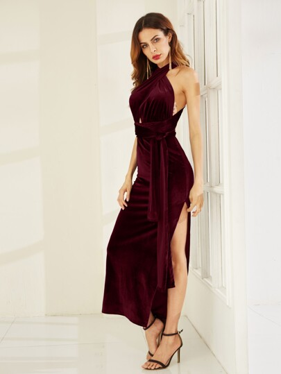 Robe fente haut velours convertible -bordeaux rouge