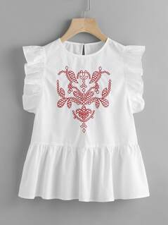 Frill Trim Keyhole Back Embroidered Peplum Top
