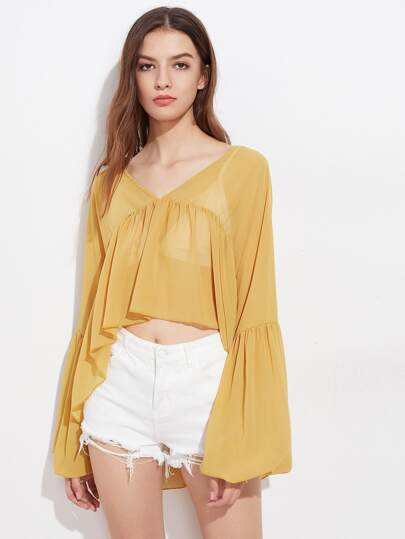 Double V Lantern Sleeve Smock Chiffon Top