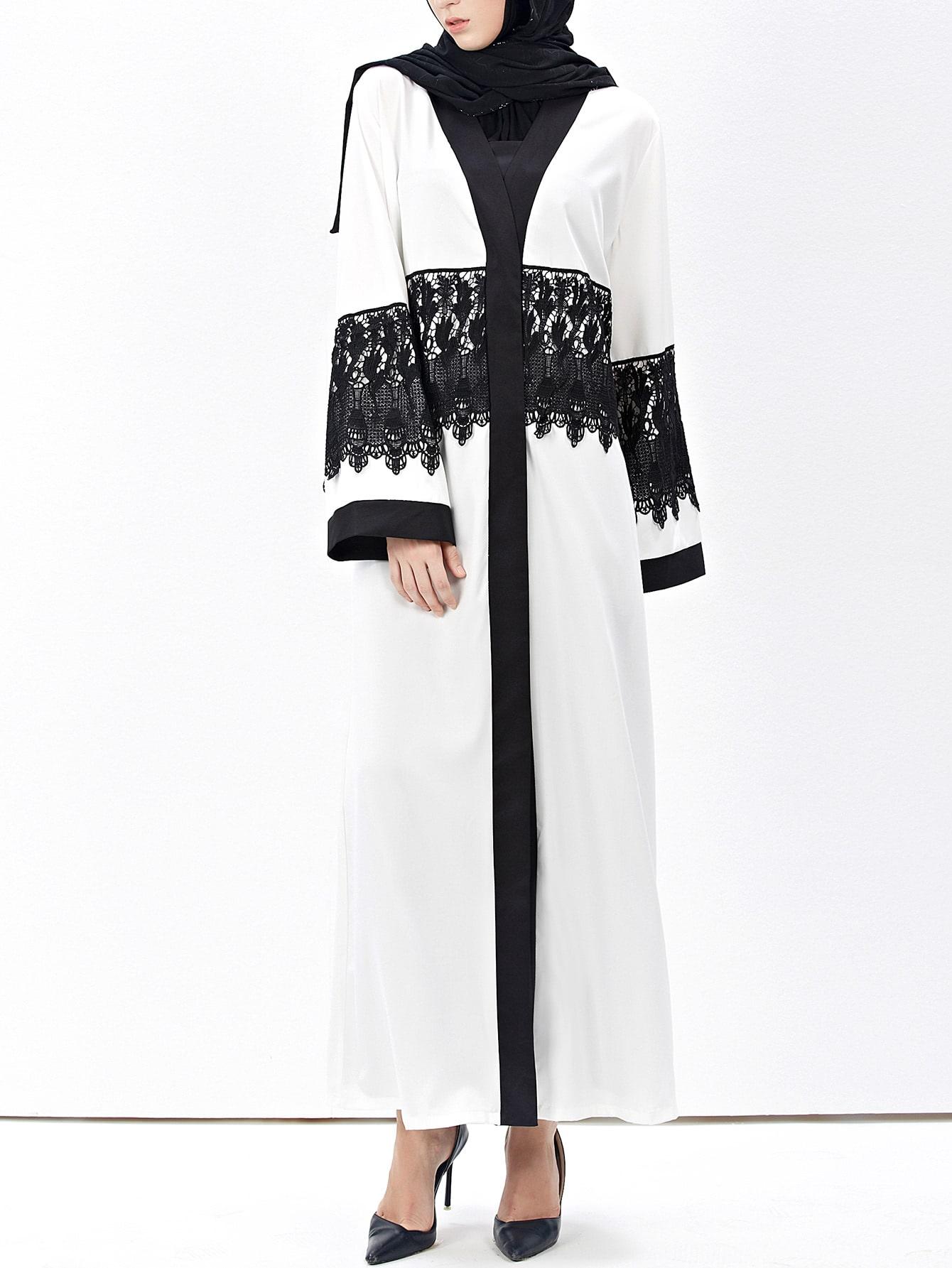 Фото Contrast Trim Crochet Lace Embellished Abaya. Купить с доставкой