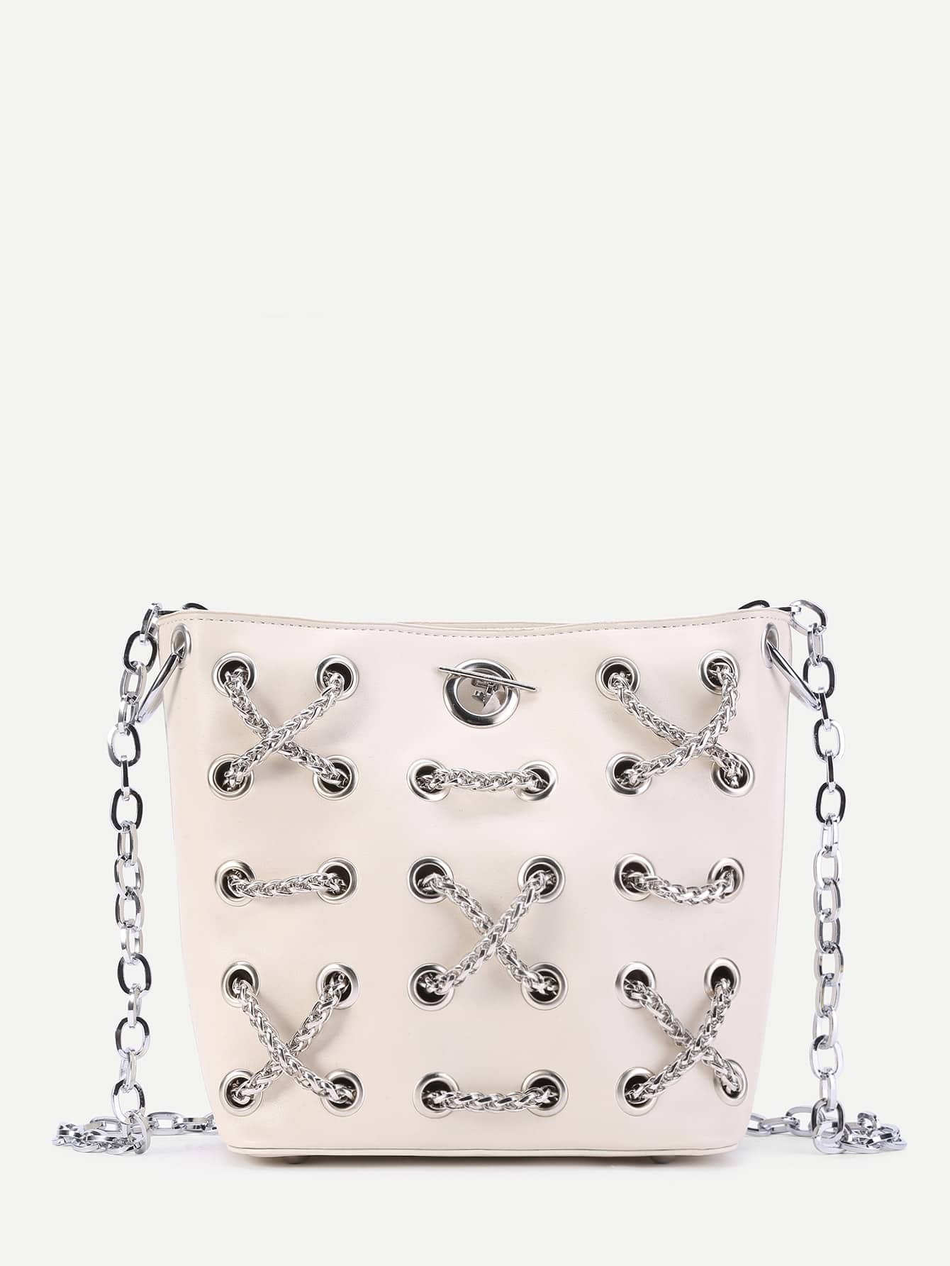 Фото Criss Cross Chain Decorated PU Crossbody Bag. Купить с доставкой