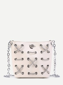Criss Cross Chain Decorated PU Crossbody Bag