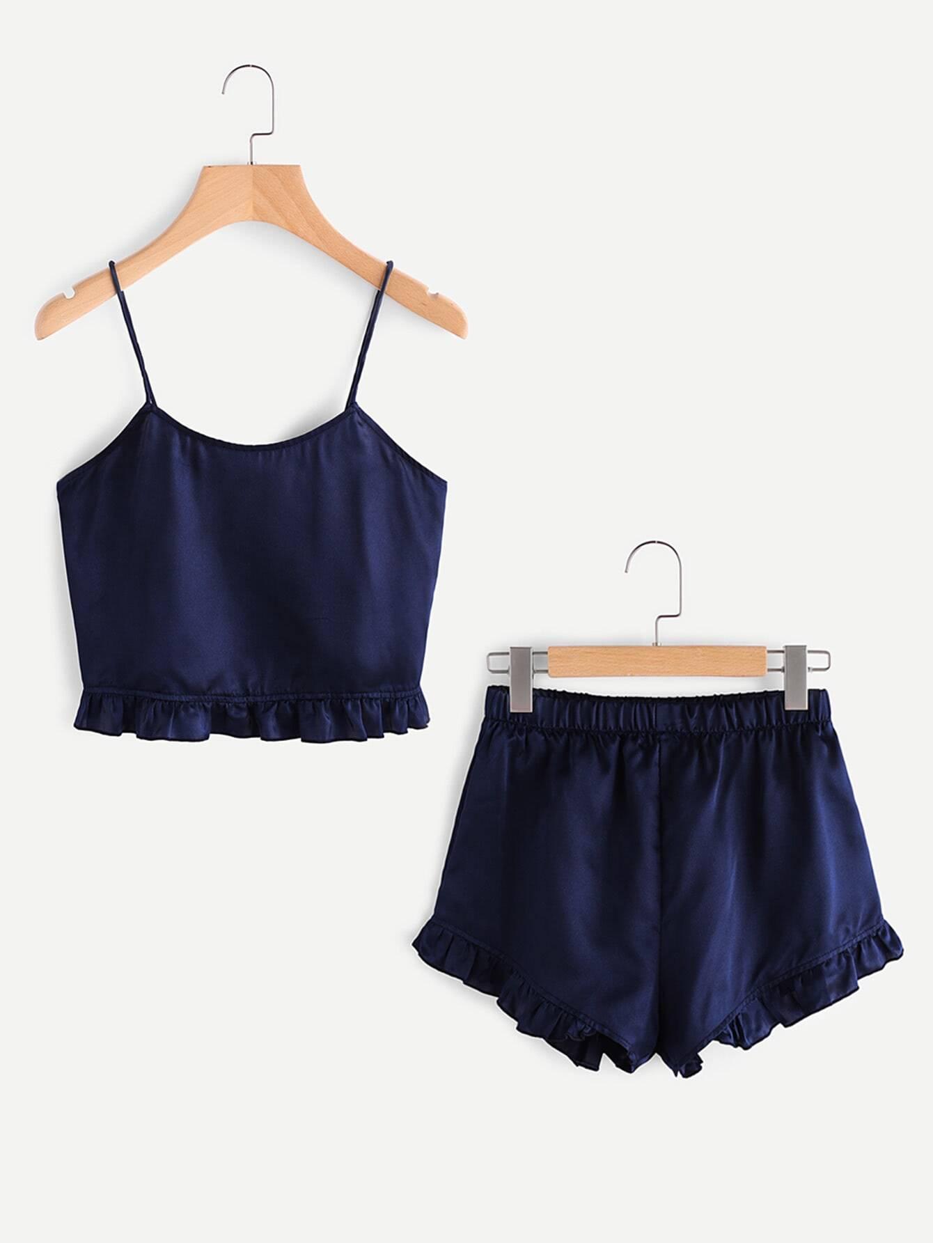 Frill Trim Cami And Shorts Pajama Set
