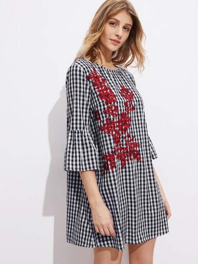 Fluted Sleeve Vine Embroidered Gingham Dress
