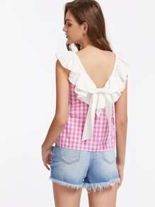 Contrast Ruffle Collar Bow Back Checkered Top