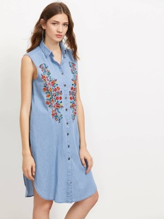 Symmetric Embroidery Slit Dolphin Hem Denim Shirt