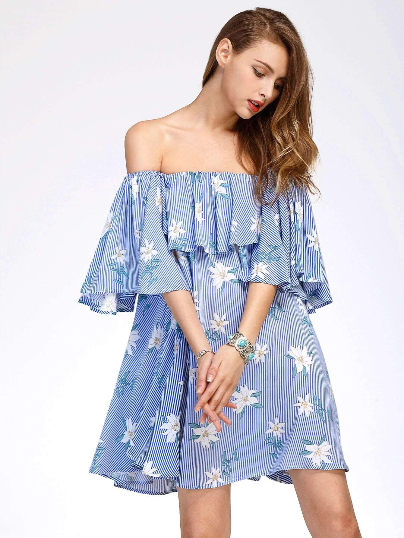 Фото Flounce Layered Vertical Striped Florals Bardot Dress. Купить с доставкой