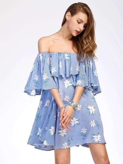 Flounce Layered Vertical Striped Florals Bardot Dress