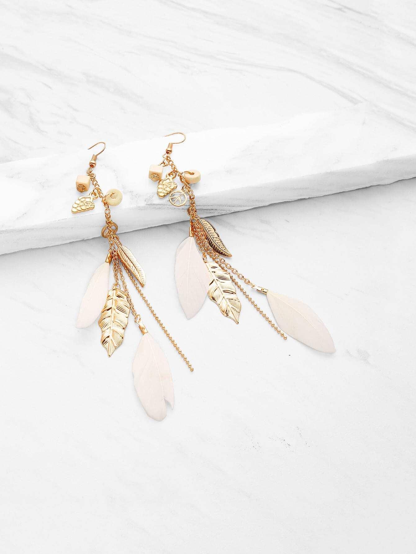 Feather & Leaf Embellished Drop Earrings bohemia leaf feather rhinestone embellished drop earrings