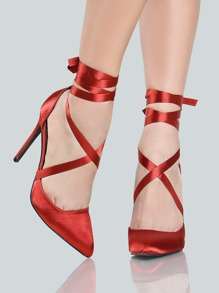 Satin Lace Up Heels RUST