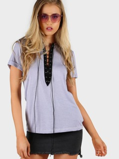 Lace Up Plunge Neck Roll Cuff Tee