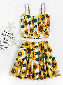 Sunflower Print Random Crop Cami Top With Skirt