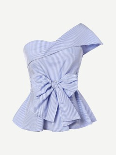 Foldover One Shoulder Bow Front Peplum Top
