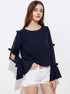 Bow Embellished Split Back And Bell Sleeve Top