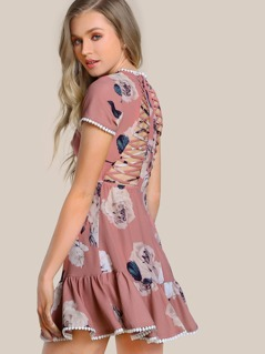 Floral Print Shirred Top Maxi Dress MAUVE