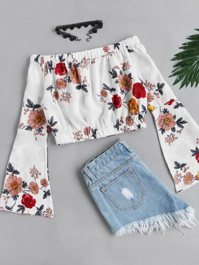 Bardot Fluted Sleeve Floral Print Random Crop Top