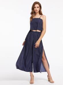 Vertical Striped Cami Top With Split Wide Leg Pants