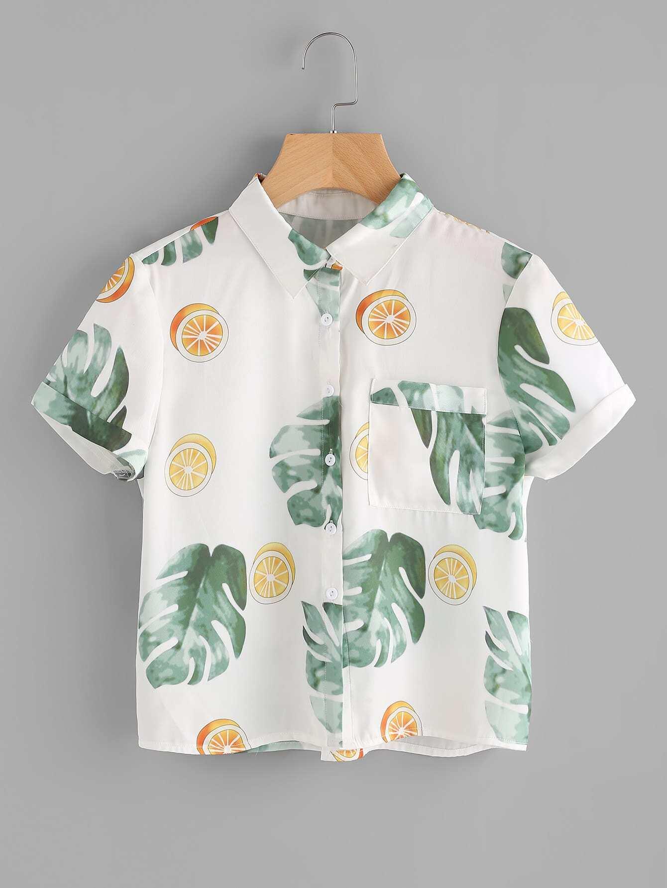 Фото Tropical Print Patch Pocket Front Shirt. Купить с доставкой