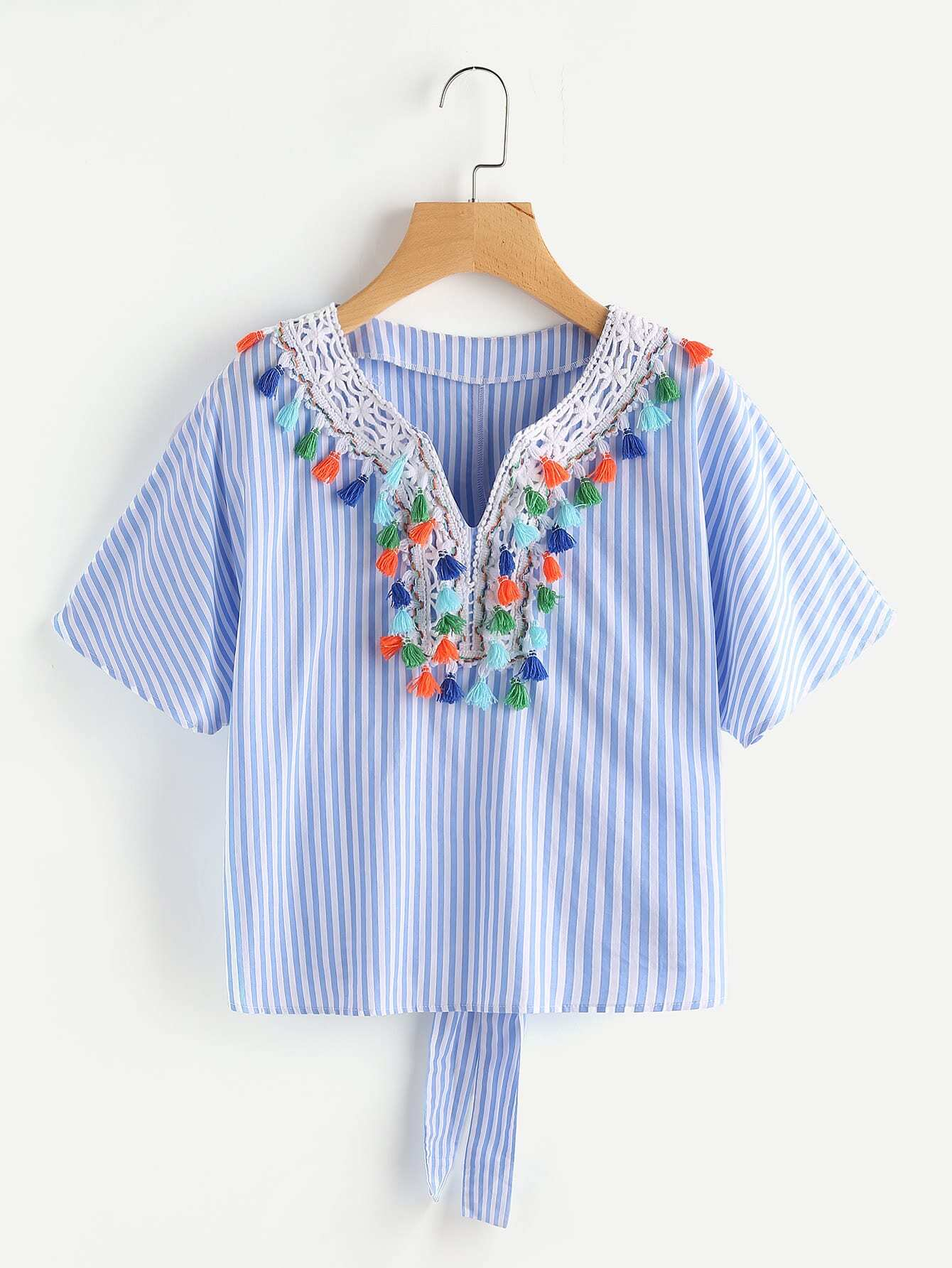 V Notch Tassel Trim Tie Back Top blouse170703706
