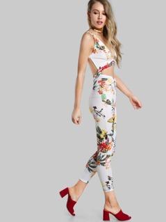 Floral Print Cutout Jumpsuit WHITE
