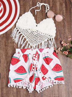 Allover Watermelon Print Pom Pom Trim Wrap Shorts