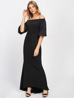 Lantern Sleeve Dip Hem Fishtail Bardot Dress