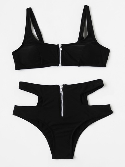 Buy Contrast Zipper Cutout High Waist Bikini Set swimwear170612305