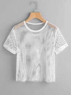 Short Sleeve Fishnet Top