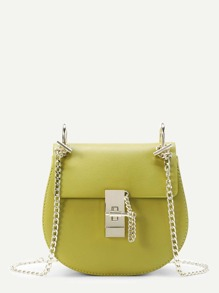 Flap Saddle PU Bag With Chain