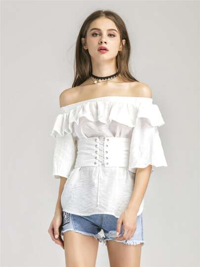 Flounce Layered Neckline Lace Up Corset Belt Top