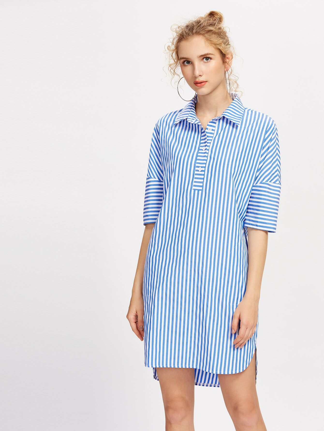 Фото Half Placket Dolman Sleeve Dolphin Hem Dress. Купить с доставкой