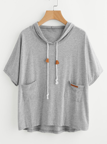 Hooded Dip Hem Slub Tee With Dual Pocket