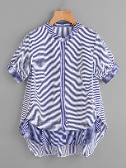 Contrast Gingham Frill Hem Striped Blouse
