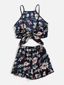 Tie Back Cami Top And Ruffle Trim Shorts Co-Ord pictures