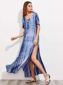 Tie Neck High Slit Tie Dye Dress