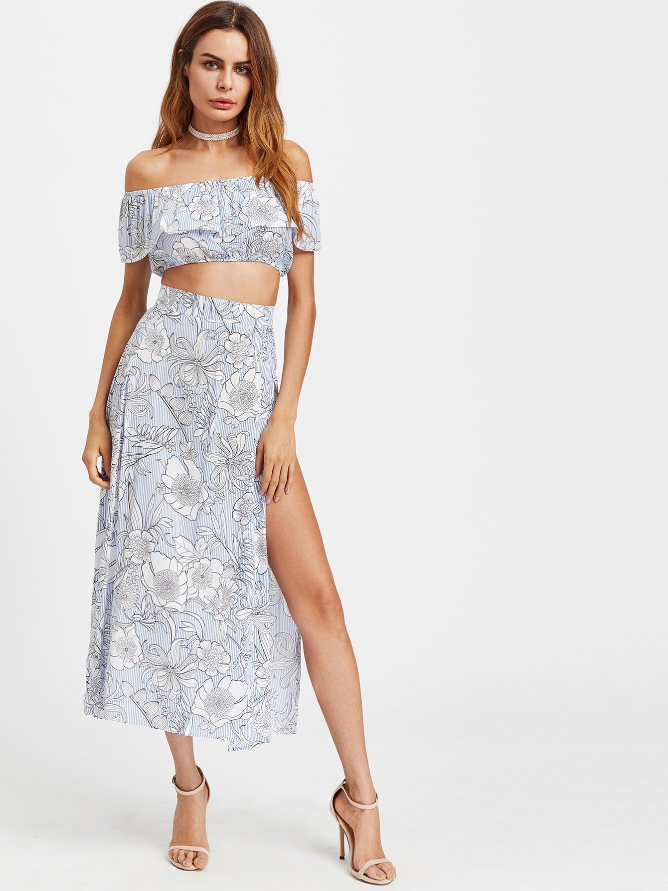 Bardot Floral Print Crop Top With Slit Side Skirt